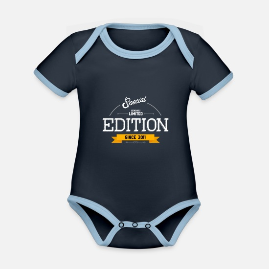 Birthday Baby Clothes - Birthday - Special Limited Edition Since 2011 - Organic Contrast Baby Bodysuit navy/sky