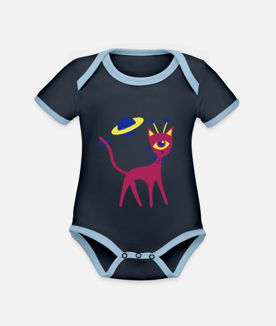 Space Baby Bodysuits - Space Cat - Organic Contrast Baby Bodysuit navy/sky