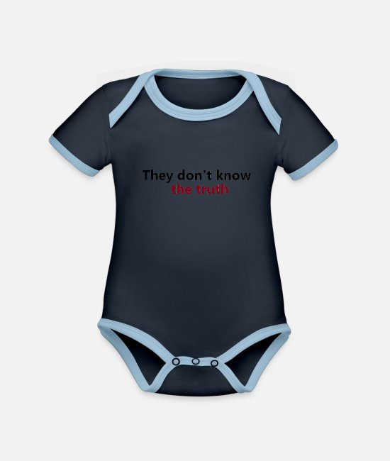 Trade Baby Bodysuits - They dont know the truth - Organic Contrast Baby Bodysuit navy/sky