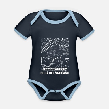 Set25 Straight Outta Citta del Vaticano city map - Organic Contrast Baby Bodysuit