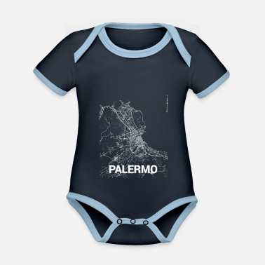 Set25 Palermo city map and streets - Organic Contrast Baby Bodysuit
