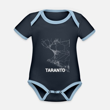 Set25 Taranto city map and streets - Organic Contrast Baby Bodysuit