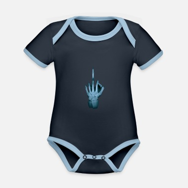 Xray X-ray middle finger Xray hand - Organic Contrast Baby Bodysuit