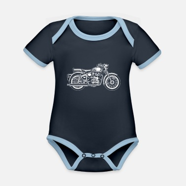 Jawa Motorcycle / Motorcycle 02_weiss - Organic Contrast Baby Bodysuit