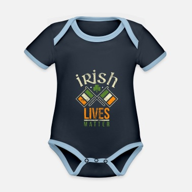 Day Ireland Irish vintage gift Patricks Day - Organic Contrast Baby Bodysuit