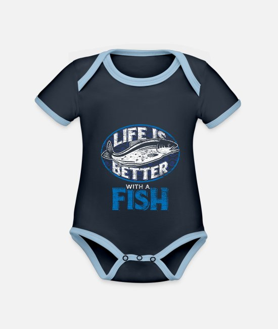 Nature Baby Bodysuits - Fish fishing fisherman angler animal nature gift - Organic Contrast Baby Bodysuit navy/sky