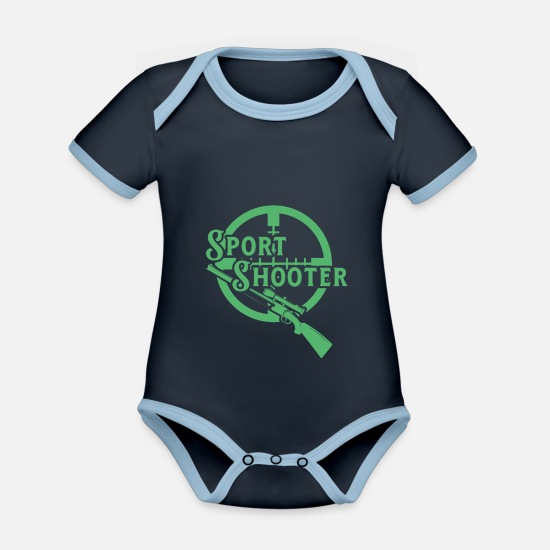 Gift Idea Baby Clothes - Gun shooting range Rifle shooting range sport shooting - Organic Contrast Baby Bodysuit navy/sky