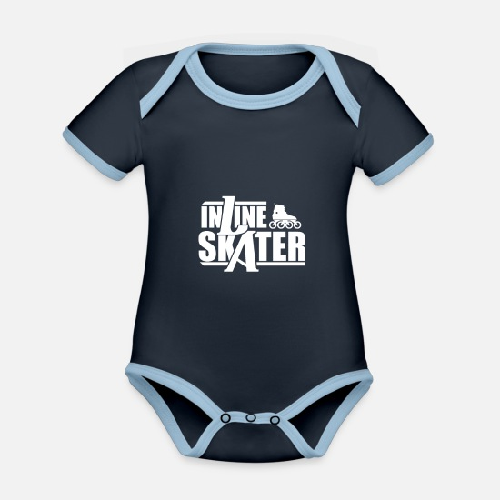 Gift Idea Baby Clothes - inline skating - Organic Contrast Baby Bodysuit navy/sky