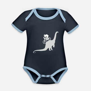 Mountain MTB Mountain Biking Bike Mountain Bike Dinosaur - Organic Contrast Baby Bodysuit