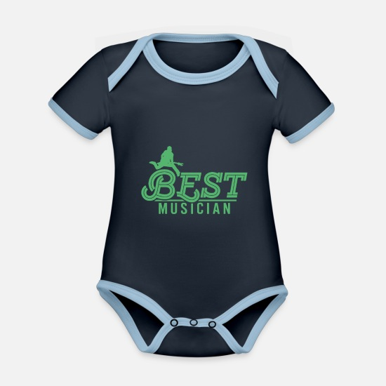 Gift Idea Baby Clothes - musician - Organic Contrast Baby Bodysuit navy/sky