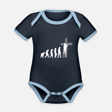 Evolution Jesus Cross Christ Team Chemises Eglise - Body Bébé bio contrasté