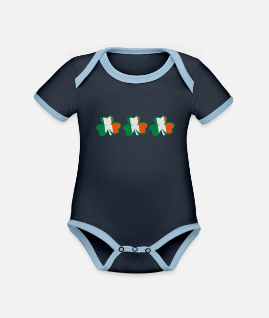 Best Awesome Superb Cool Amazing Identity Ethnicity Race People Language Country Design Baby Bodysuits - ♥ټ☘Kiss the Irish Shamrocks to Get Lucky☘ټ♥ - Organic Contrast Baby Bodysuit navy/sky