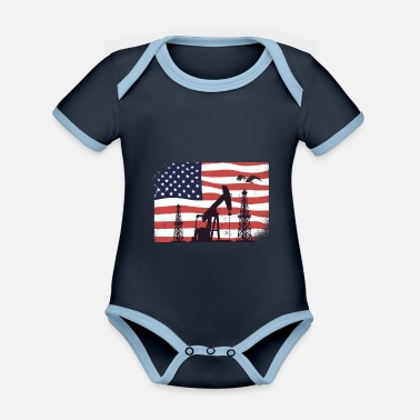 Oil Rig Worker Pump USA American Gas Oilfield - Organic Contrast Baby Bodysuit
