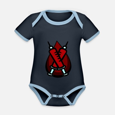 Blood Drop Blood splash blood draw blood drop bloody - Organic Contrast Baby Bodysuit