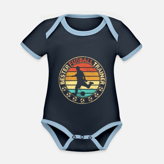 Gift Idea Baby Clothes - Football coach soccer club - Organic Contrast Baby Bodysuit navy/sky