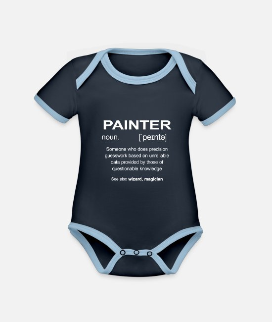 Birthday Baby Clothes - Painter Painter Paint Painter Painting Painter - Organic Contrast Baby Bodysuit navy/sky