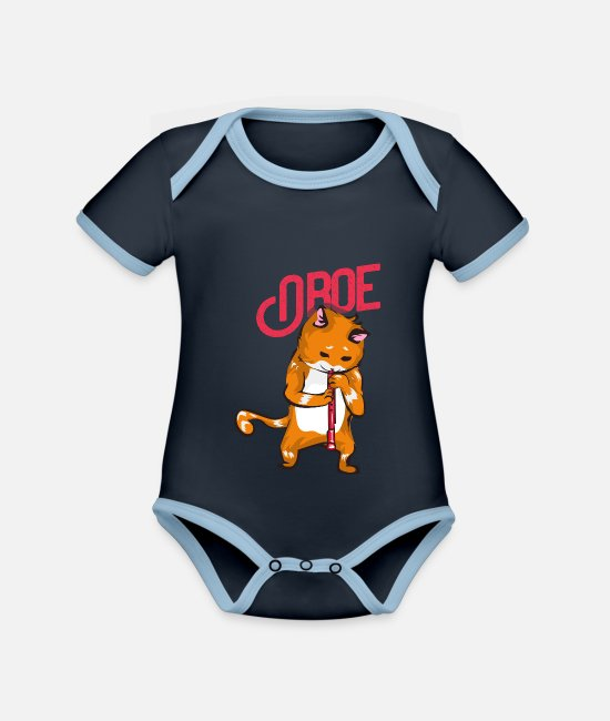 Easter Baby Clothes - Oboe cat - Organic Contrast Baby Bodysuit navy/sky