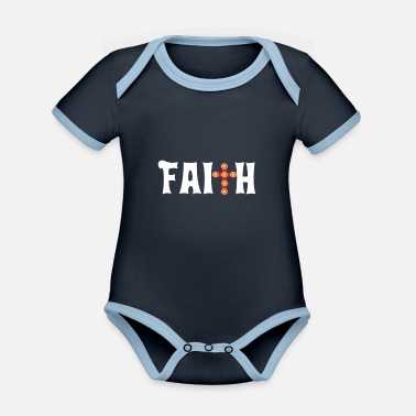 Slid Faith Cross Christian Design Parade - Økologisk kontrast babybody