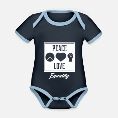 Truth Peace Love Equality - Protest Diversity - Organic Contrast Baby Bodysuit