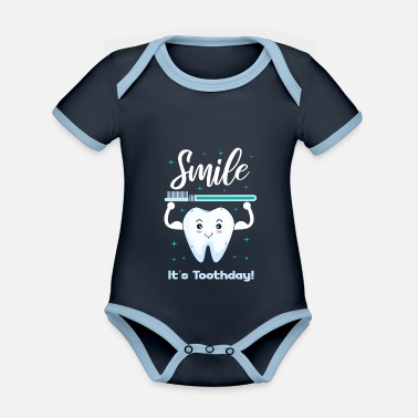 Tooth Dental assistant tooth dental care funny gift - Organic Contrast Baby Bodysuit
