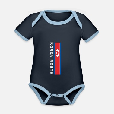 Flag korea nord national color in stripes - Organic Contrast Baby Bodysuit