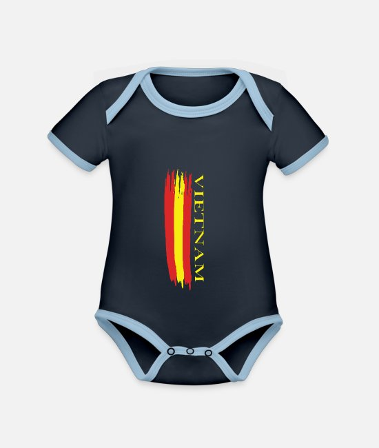 Travel Baby Bodysuits - vietnam outlined national colors - Organic Contrast Baby Bodysuit navy/sky