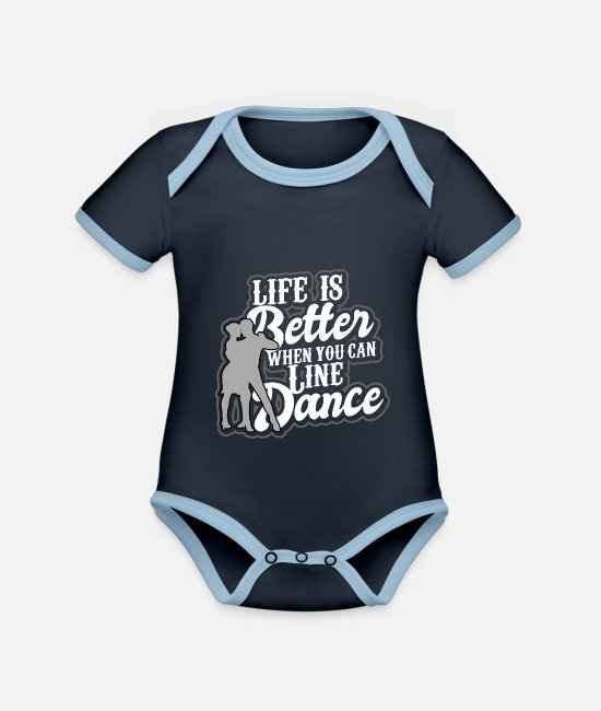 Country Dans Baby bodies - Linedance western country muziek danssport - Rompertje tweekleurig navy/sky