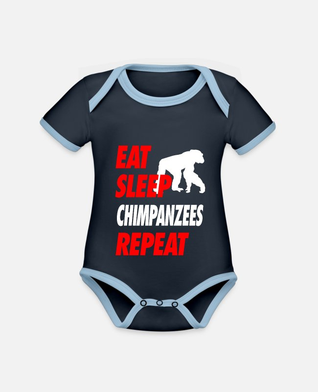 Animals Baby Bodysuits - EAT SLEEP CHIMPANZEES REPEAT t-shirt - Organic Contrast Baby Bodysuit navy/sky