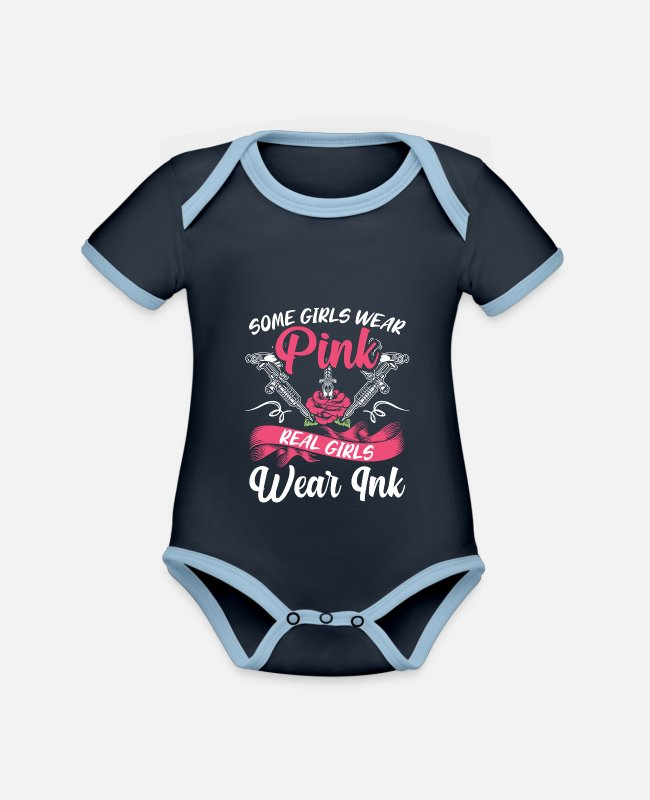 Gift Baby Bodys - Real Girls Wear Ink Funny Tattooed Tattoos Women - Baby Bio Kurzarmbody zweifarbig navy/sky