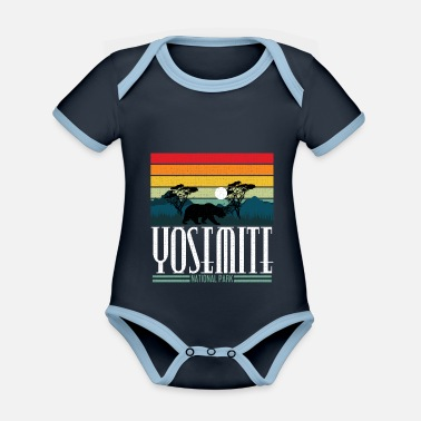 Helped Dome Yosemite National Park California Bear Gift - Organic Contrast Baby Bodysuit