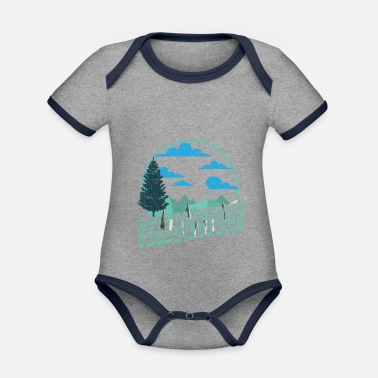 Helped Dome Yellowstone National Park Outdoor Hiking - Organic Contrast Baby Bodysuit