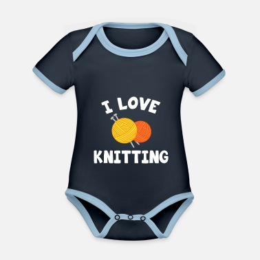 Sticks I love knitting Knitting - Baby Bio Kurzarmbody zweifarbig