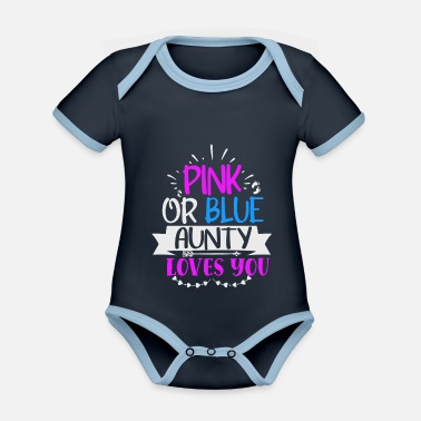 Umstandsmode Pink or blue aunty loves you - Baby Bio Kurzarmbody zweifarbig