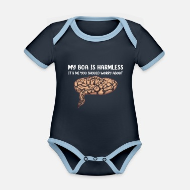 Brand Harmless Snake Owner Boa Constrictor print - Organic Contrast Baby Bodysuit