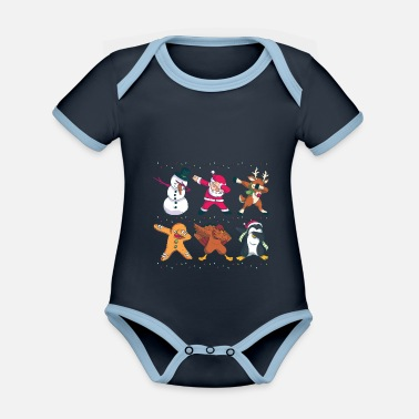 Gingerbread Christmas Dabbing Nicholas Holidays Gift - Organic Contrast Baby Bodysuit