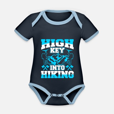 High Key Into Hiking Funny Hiker - Baby Bio Kurzarmbody zweifarbig