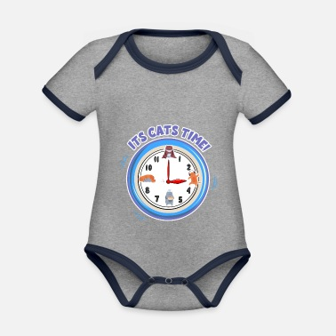 Paw Cats time - Organic Contrast Baby Bodysuit