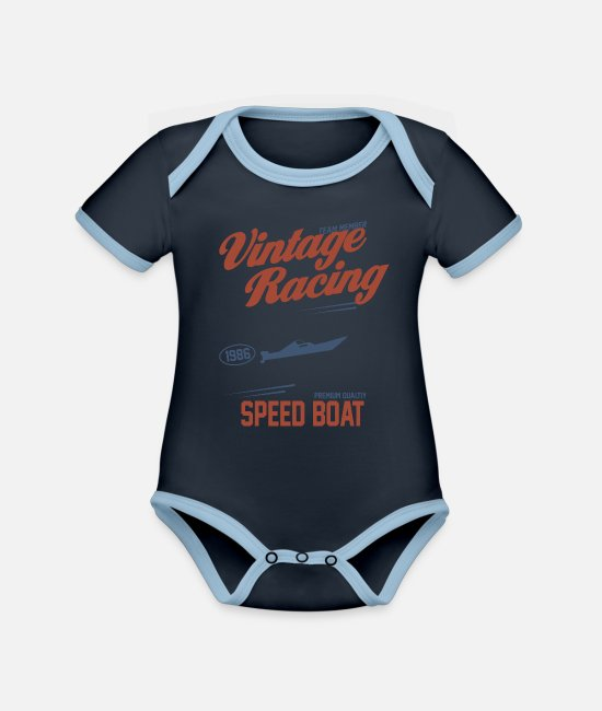 Speed Metal Baby Clothes - Speed boatowner HIPSTER EDITION - Organic Contrast Baby Bodysuit navy/sky