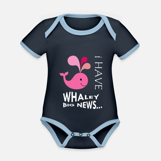 Little Sister Baby Clothes - Pregnancy or NEW BABY boy/girl announcement - Organic Contrast Baby Bodysuit navy/sky