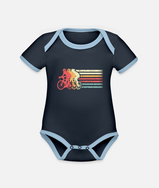 Birthday Baby Clothes - Cyclist - Organic Contrast Baby Bodysuit navy/sky