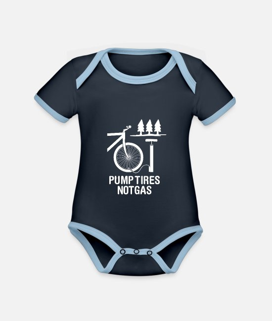 Diesel Baby Clothes - Pump Tires Not Gas - Organic Contrast Baby Bodysuit navy/sky