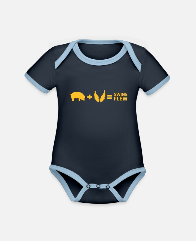 Virus Baby Bodysuits - The Swine Flu - Organic Contrast Baby Bodysuit navy/sky