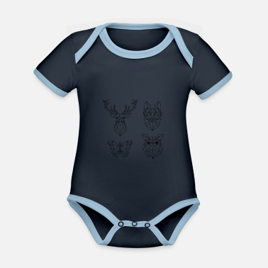 Animal Collection Animal collection - Organic Contrast Baby Bodysuit