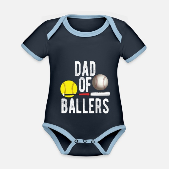 Play Baby Clothes - Dad of Ballers Baseball dad with ball - Organic Contrast Baby Bodysuit navy/sky