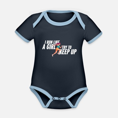 Sprinten I run like a girl jogging saying girl Jogger - Organic Contrast Baby Bodysuit