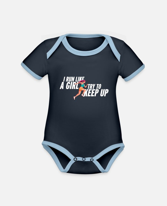 Competition Baby Bodysuits - I run like a girl jogging saying girl Jogger - Organic Contrast Baby Bodysuit navy/sky