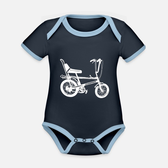Chopper Baby Clothes - Chopper - Organic Contrast Baby Bodysuit navy/sky