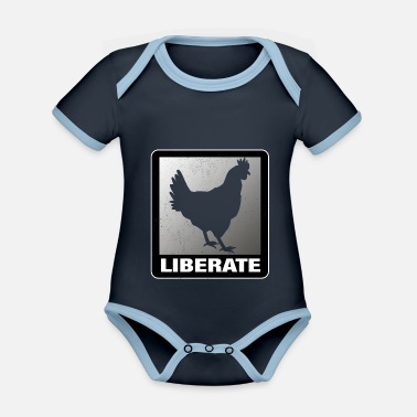 Animal Liberation Liberate Vegan Animal Liberation Chicken - Organic Contrast Baby Bodysuit