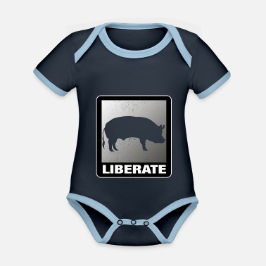 Animal Liberation Liberate Vegan Animal Liberation Pig - Organic Contrast Baby Bodysuit