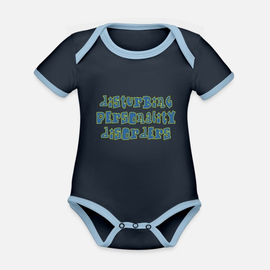 Guys Night Out Baby Clothes - disturbing - Organic Contrast Baby Bodysuit navy/sky